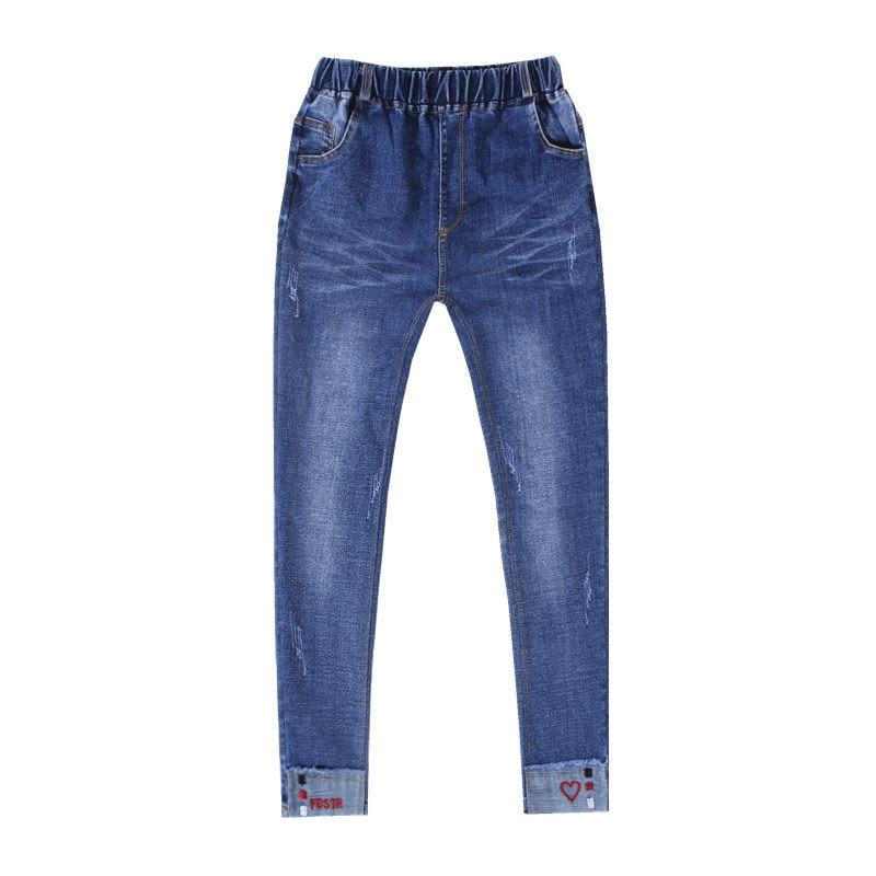 Купить с кэшбэком 2020 Spring Autumn Jeans Girls Skinny Trousers Embroider Red Love Letter Print Girls Pants Children Leggings Pantalon Long Pants