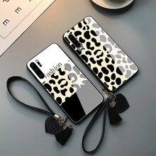 Leopard pattern tempered glass luxury case for huawei p30 lot p20 pro lite mate 20 pro lite 10 pro 9 nova 4 3i 2s plus  TPU edge