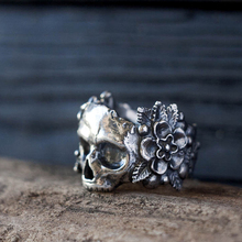 EYHIMD Gothic Mexican Flower Sugar Skull Rings Women Stainless Steel Punk Flowers Ring Jewelry