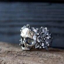 EYHIMD Gothic meksykańska kwiat cukrowa czaszka pierścienie kobiety stal nierdzewna Punk kwiaty pierścień biżuteria