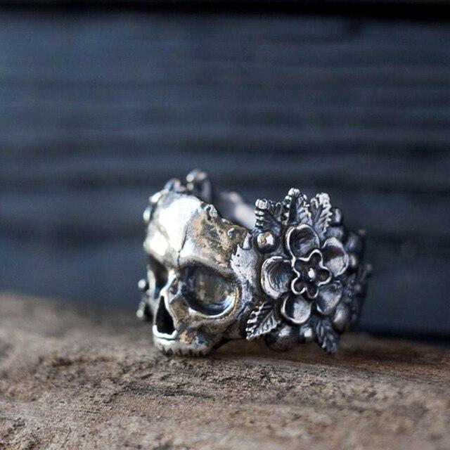 EYHIMD gotik meksika çiçek şeker kafatası yüzükler kadınlar paslanmaz çelik Punk çiçek yüzük takı