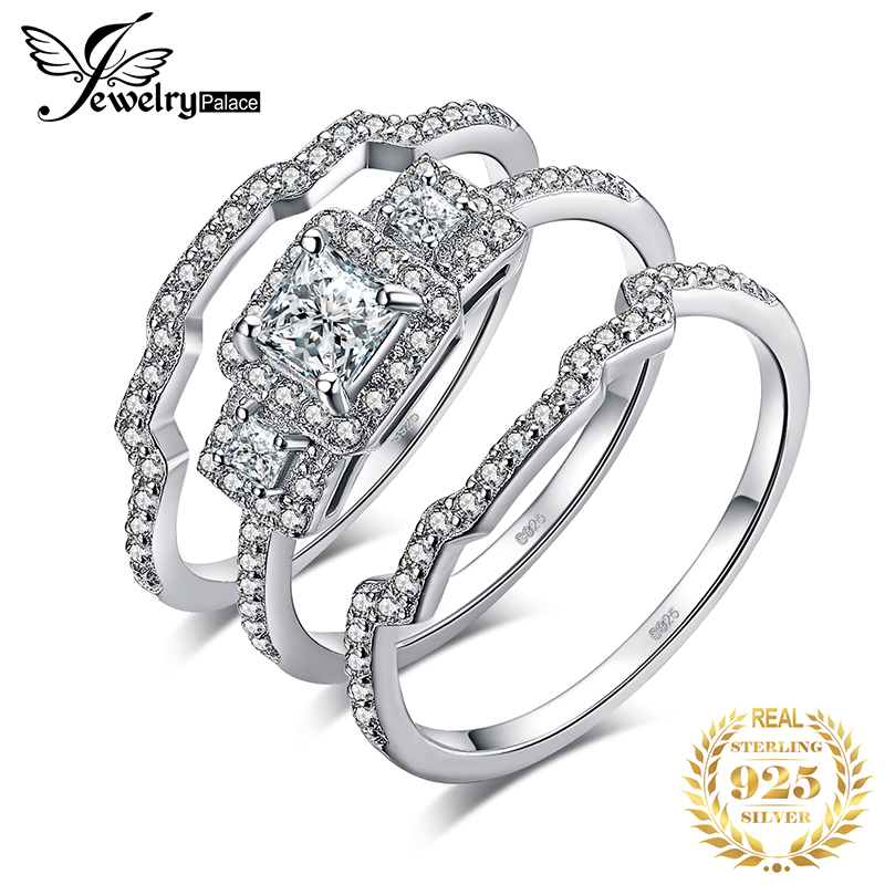 JPalace Princess Engagement Ring Set 925 Sterling Silver Rings for Women Anniversary Wedding Rings Bridal Set Silver 925 Jewelry