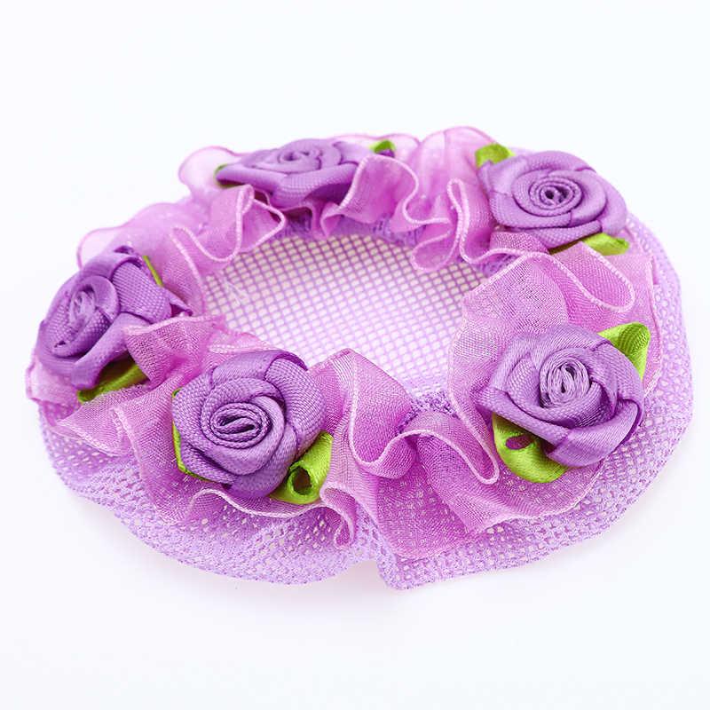 8 ซม.ดอกไม้ลูกไม้ Hairnet น่ารัก Reusable Hair Nets สำหรับนักเต้นฝาครอบสุทธิผมจัดแต่งทรงผมอุปกรณ์เสริมเด็กบัลเล่ต์ Dancewear