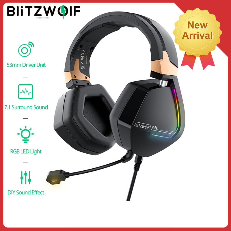 BlitzWolf BW GH2 Gaming Headphones 7.1 Channel 53mm Driver USB Wired RGB Gamer Headset with Mic for PC for PS3/4 Headphone|Headphone/Headset| - AliExpress