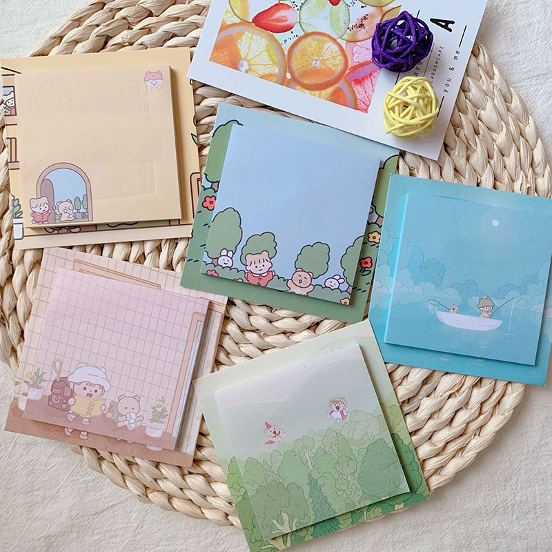 SIXONE 50 Sheets Ins Cartoon Cute Sticky Note Paper Cute Student Kawaii Stationery Notebook Memo Pad Diary Message Card