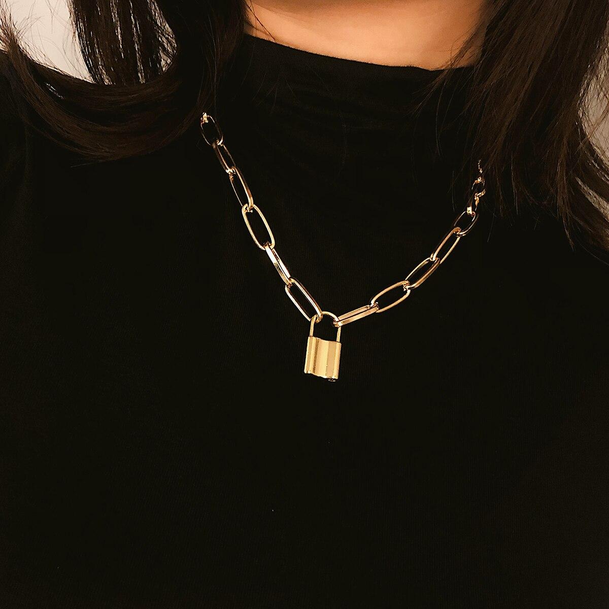 Ожерелье в стиле рок с замком, Женская цепочка золотого цвета, Панк готическое колье, ожерелье с воротником, массивное ожерелье с подвеской для женщин, ювелирное изделие, подарок|Цепочки|   | АлиЭкспресс - Я б купила