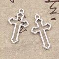 10 шт. Подвески полые крест 38x22 мм античный бронзовый, серебристый цвет Подвески DIY ремесла делая результаты ручной работы тибетские ювелирны...