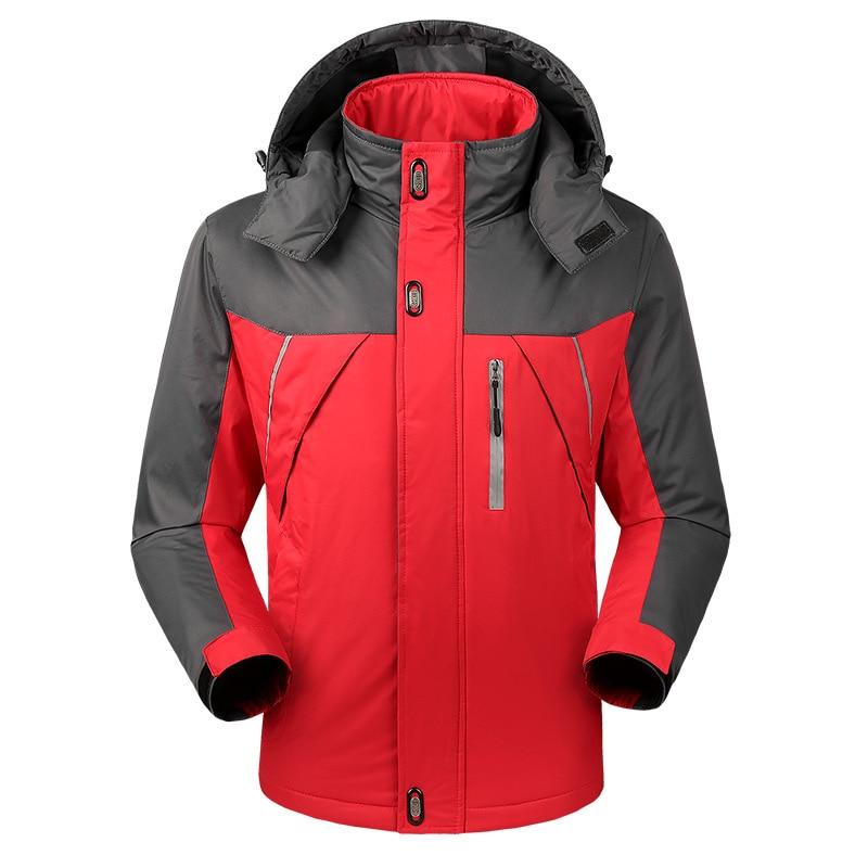 Осенняя и зимняя мужская спортивная куртка, плюс размер, Повседневный плащ, мужская куртка, плюс бархат, толстая, теплая, на открытом воздухе, Ветроустойчивая - Цвет: Красный