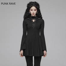 PUNK RAVE Women Gothic Dress Black Knited Hollow Out Sexy Mini Slim Fit Evening Party Summer