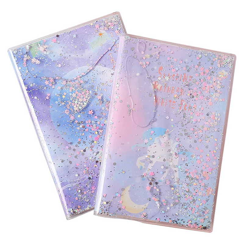 Quicksand Rainbow Horse Notebook Sparkling Twinkling Beauty Notebook Pink Purple Blue Silver Gift For Girl Students Stationery