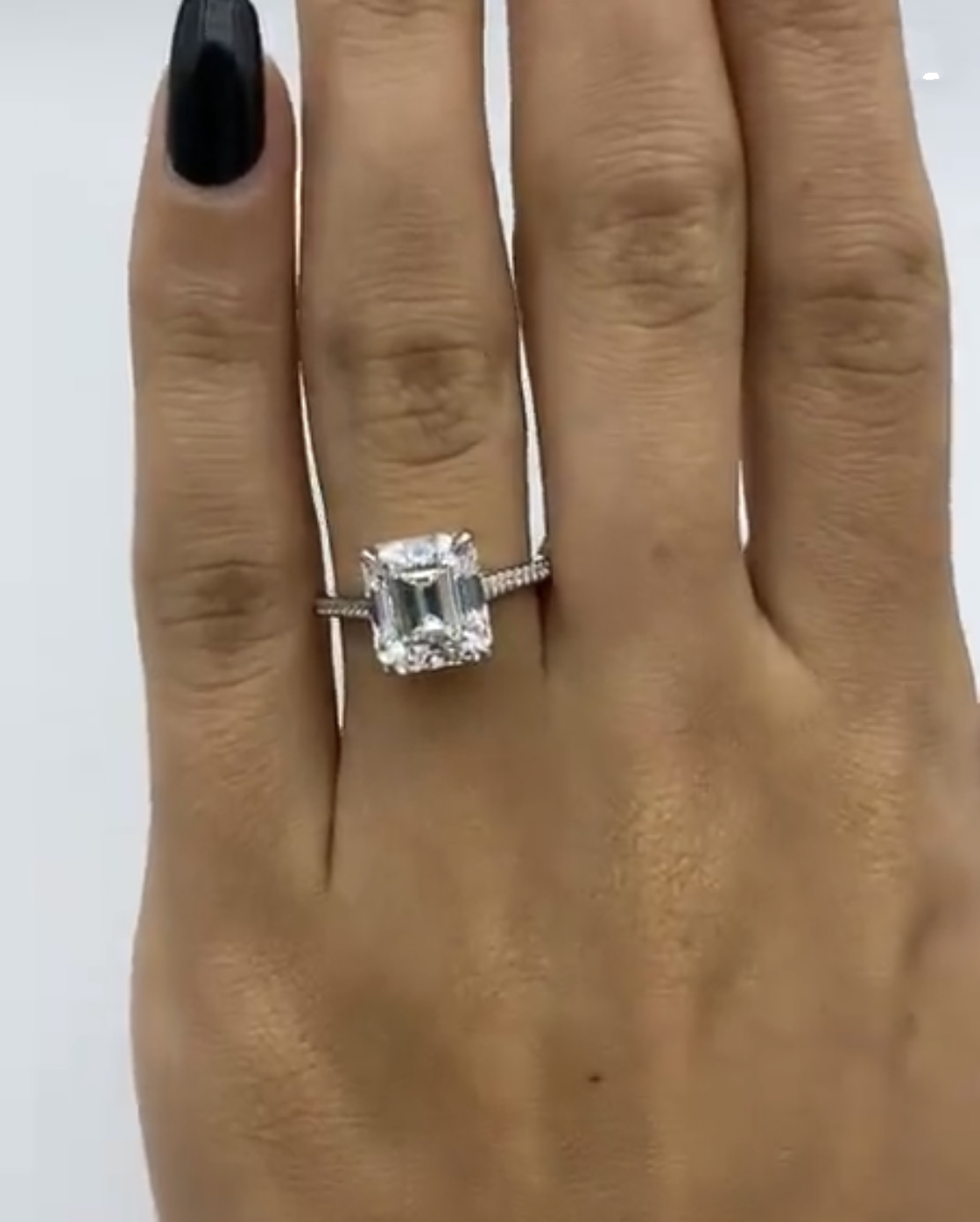 Emerald 925 Sterling Silver Rings Finger Simple Square Emerald Cut Diamond Elegant Ring For Women Engagement Wedding Jewelry