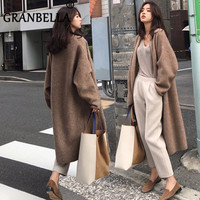 2019 Elegant Loose Knit Woolen Cardigan Sweater Long Sleeve Warm Solid Color Women Casual Coats Chic Sweaters Outerwear Elastic