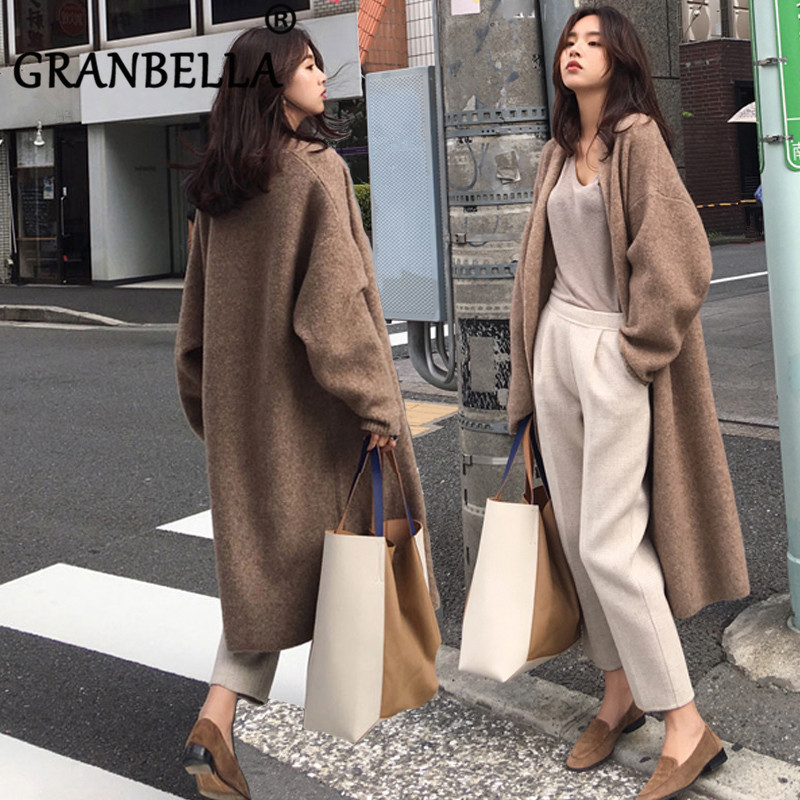 INS Elegant Loose Knit Woolen Cardigan Sweater Plus Size Long Sleeve Warm Solid Color Women Casual Coats Chic Sweaters Outerwear
