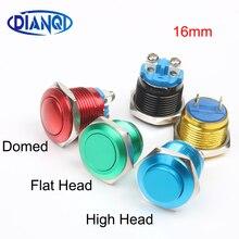 16 мм металлический латунный кнопочный переключатель высокий круглый Мгновенный 1NO автомобильный кнопочный штифт/винтовой терминал купольный/плоский/с Высокой Головкой