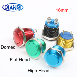 16mm Metal brass Push Button Switch high round Momentary 1NO Car press button pin/screw terminal domed/flat/high head
