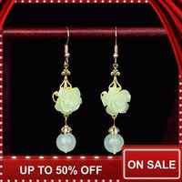 Ethnic Dangle Earrings for Women Vintage Crystal Earrings Natural Green Stone Flower Statement Earrings Fashion Jewelry 2019 New