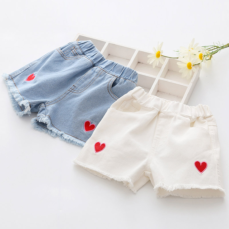 2020 Hot Summer Fashion Teenager Children Blue White Embroidery Little Kids Girls Denim Shorts For 2 3 4 6 8 10 12 Years Baby