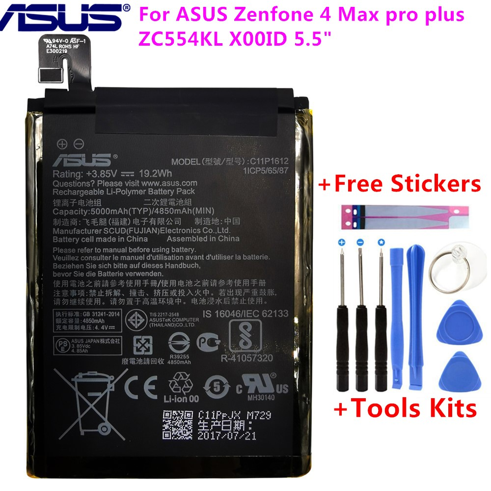 Original ASUS C11P1612 Battery For ASUS Zenfone 4 Max pro plus ZC554KL X00ID 5.5 5000mAh +Free Tools +Stickers image