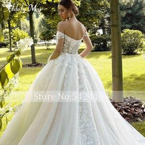 Image 5 - Büyüleyici sevgiliye boyun tam kollu gelin A Line düğün elbisesi 2020 lüks boncuklu aplikler mahkemesi tren prenses gelinlikler