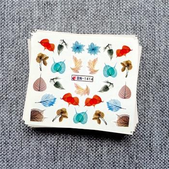 цена на 12 Designs Nail Sticker Green Leaves Slider DIY Nail Art Water Transfer Decal Watermark Slider Manicure Tool 2019 New BN1405