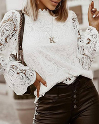 Women Elegant Embroidery Hollow Out Lace Blouse Shirt Sexy Petal Long Sleeve Pullover Ladies 2021 Autumn Stand Collar Blusa Tops