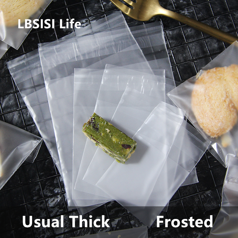 LBSISI Life 100pcs Frosted Candy Cookie Bags Translucent Plastic Soap Package Bags Cupcake Wrapper Self Adhesive Gift Bag