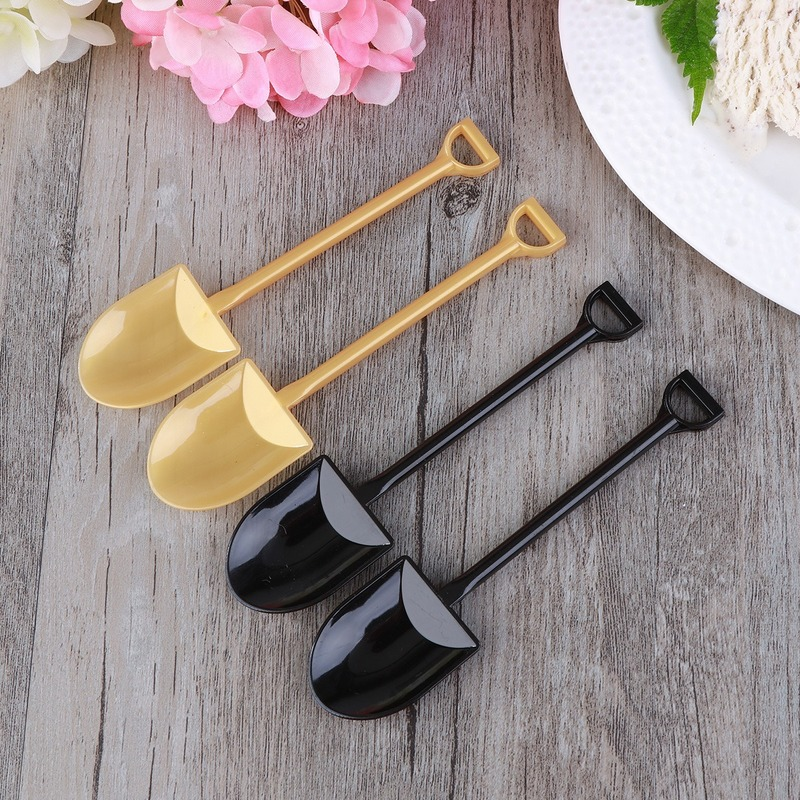 20/10pcs Mini Plastic Construction Shovel Spoons Disposable Potted Cake Ice Cream Pudding Scoop For Kids Party Supplies 12.2X3cm