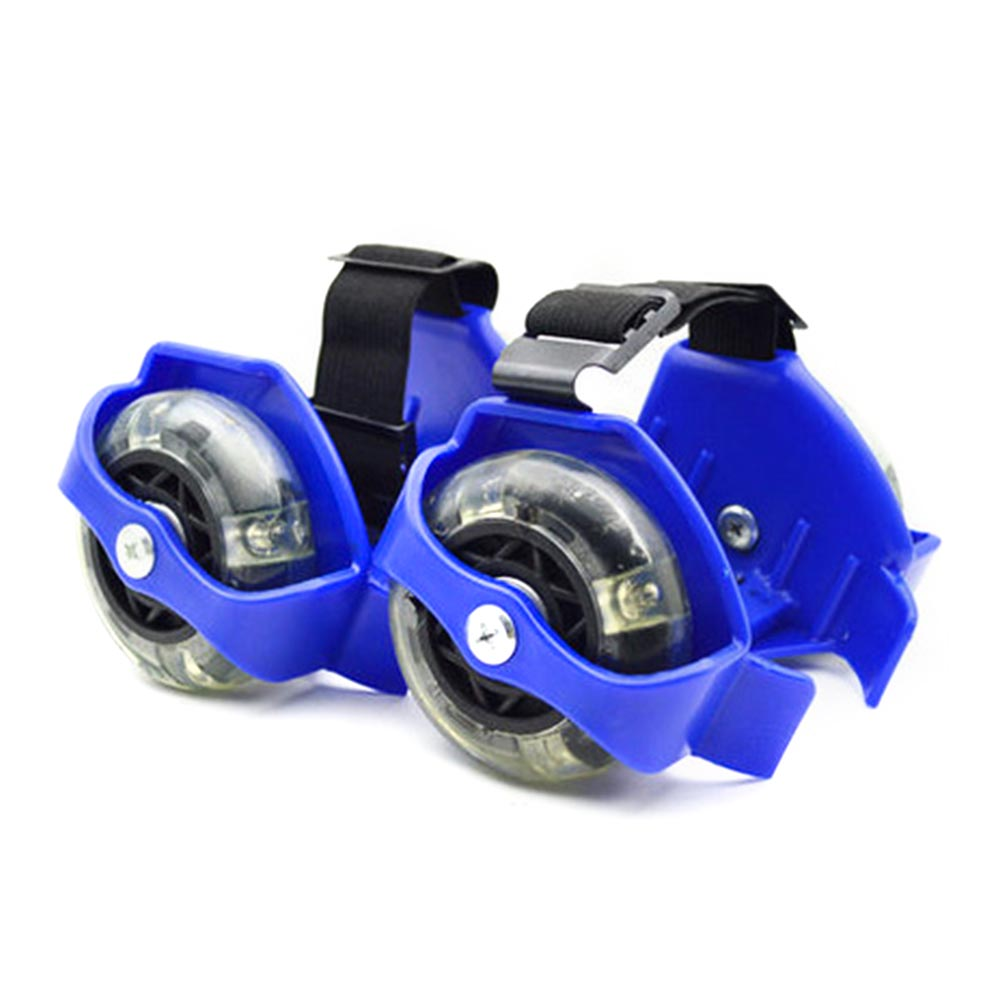 1 Pair Heel Adjustable 3 Colors Flashing Roller Kids Elastic Wear Resistant Pulley Friction Whirlwind Wheel Skating Shoes PVC