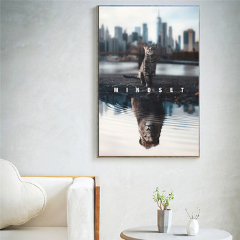 Print Text Animal Canvas Painting Mindset Is Everything Motivational Cat Lion Canvas Art Picture for Living Room Home Decor 1
