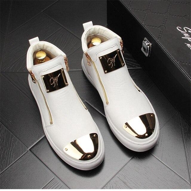 Zapatillas de cuero dorado para Hombre, zapatos informales Punk, Hip Hop, botines planos con cremallera 6