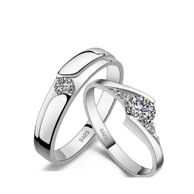 UFOORO S925 Sterling Silver Clear Round Zirrcon Ring Valentine's Day Gift Couple Ring Set For Woman Wedding Engagement Jewelry