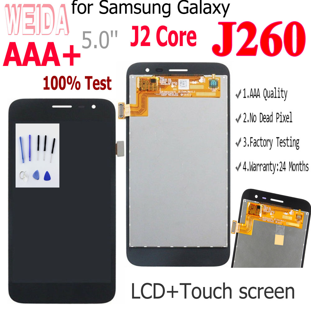 100% For Samsung Galaxy J2 Core 2018 J260 J260F/DS J260G/DS LCD Display Touch Sensor Digitizer Assembly For Samsung J2 Core Lcd