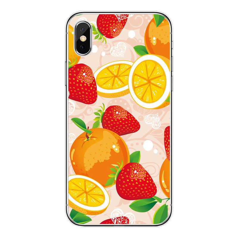夏の新鮮なフルーツリンゴスイカライムオレンジドラゴン果物ゼリー豆キャンディ電話ケースiphone 11 プロ最大 8 7 6 6sプラスx