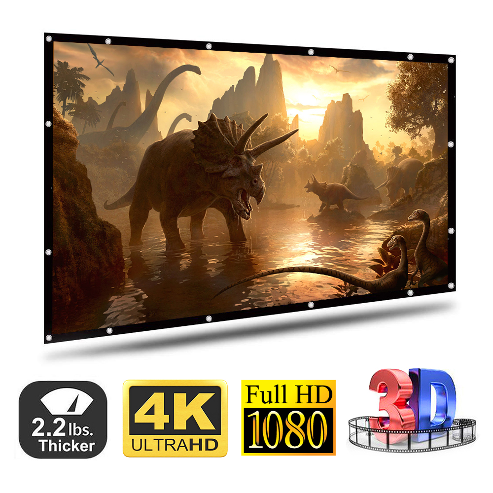 100 120 Inches 16 9 Projector Screen Polyester Portable Foldable Front Rear Non-crease Foldable Design Home Projection Screen
