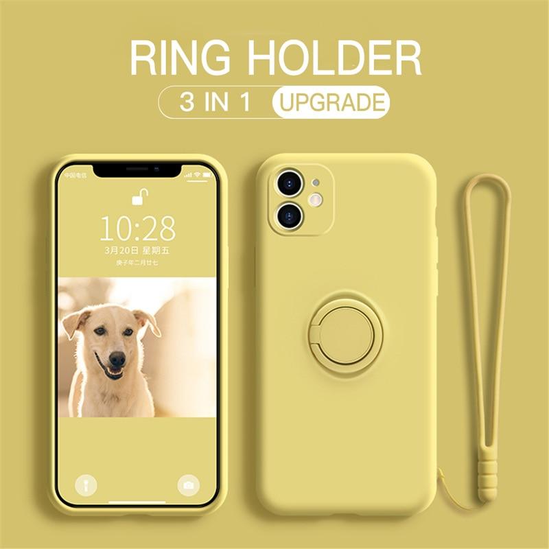 Liquid Silicone Case For Xiaomi Redmi Note 9 8 7 Pro 9S 9C A K30 Mi 10 CC9 Pro 9 SE 8 Note 10 Lite Stand Ring Holder Strap Cover(China)