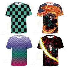 цены Hot Anime Demon Slayer Summer Newest Boy Girl T-shirt Kids 3D Printed T-shirts Children Casual Tshirt Short Sleeve T Shirt