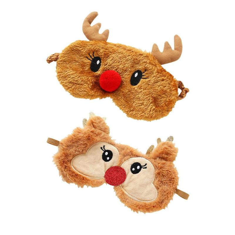 Christmas Deer Eye Cover Plush Sleeping Eye Mask Eyepatch Nap Eye Shade Eye Mask Christmas Eye Mask Personality Creative Funny