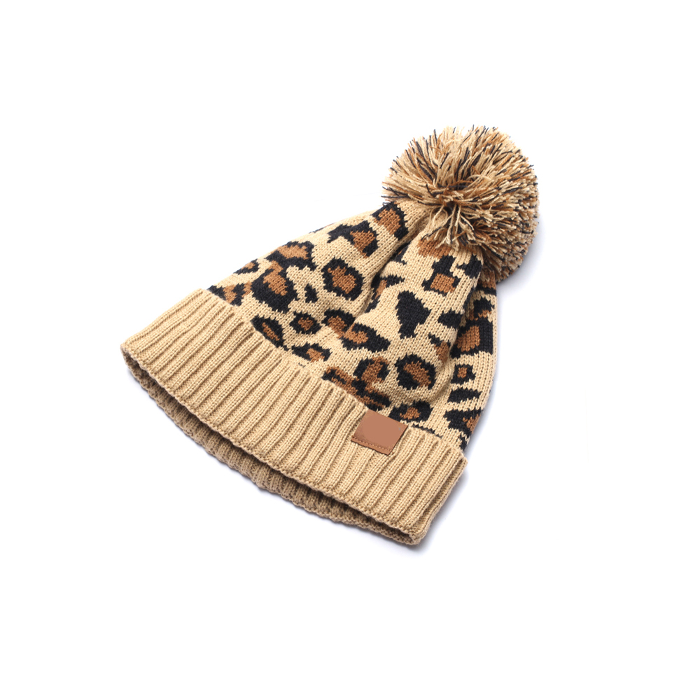 Knitted Leopard Beanie Winter Hat Fashion Adult Fall Thick Warm Bonnet Skullies Beanie Soft Knitted With Tag