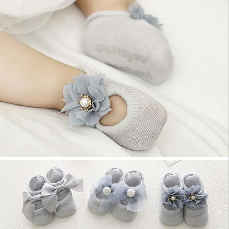 3 пар/компл. хлопок Детские носки для девочек Bebe Малыш новорожденный младенец Нескользящие кружевные галстук-бабочка с цветком