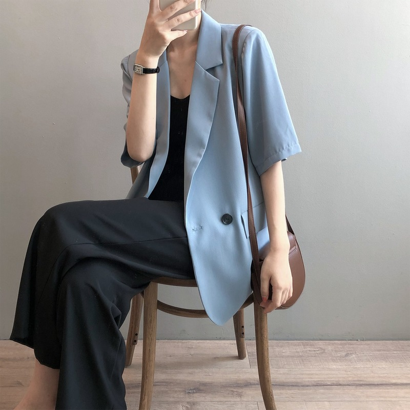 2020 Autumn New Korean-Style Short-Sleeved Net Red Small Suit Women's Thin Drape Temperament Casual Jacket