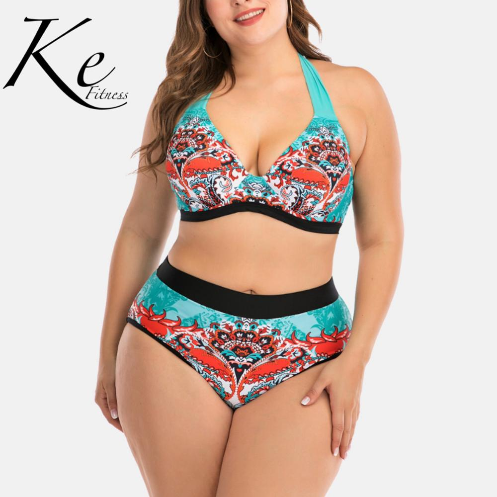 KE New Collection 2020 Plus Extra Size Bikini Woman Big Cup Ladies Swimwear Neck Tie Multicolor High Waist 4XL