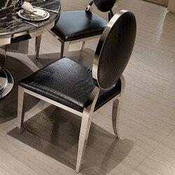 2 sztuk krzesło złoty/srebrny nowoczesny minimalistyczny stal stalowe krzesło do jadalni krzesło domowe Hotel PU/tkaniny Comedores Modernos Muebles