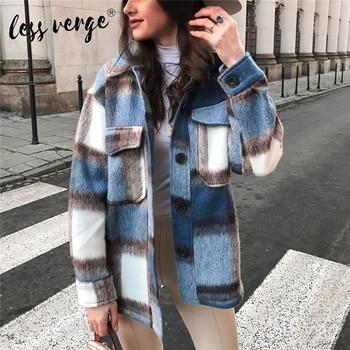 Lessverge New Fashion Women Plaid Coat Button Down Jacket Coat Worsted Coat Long Sleeve Warm Coat Woollen Coat