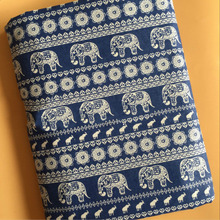 Animal Printed Cotton Linen Fabric Woven Sewing DIY Quilting Elephant Canvas Material For Textile Patchwork