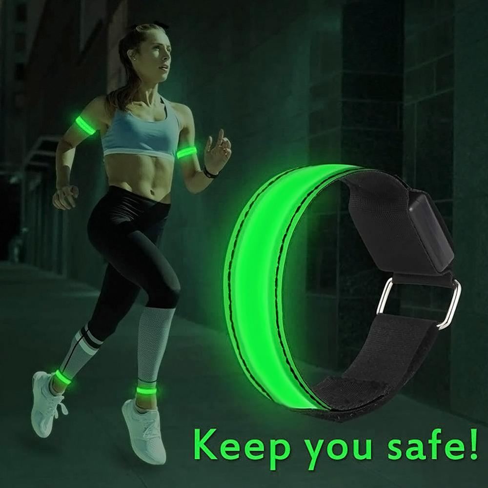 LED Armband Adjustable Wristband Reflective Flashing Strips Ankle Glow Bracelet Safety Light for Night Jogging Walking Biking