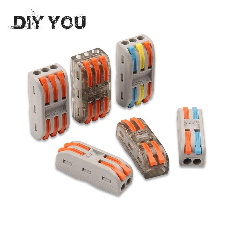 10-100PCS Wire Connectors PCT-222 Terminal Block Conductor SPL-2/3 Push-In Mini Terminal Block Cable Splitter Led Light Conector