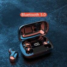 무선 헤드폰 TWS 블루투스 5.0 무선 이어폰 500mAh 충전 박스 마이크 스포츠 방수 헤드셋 이어 버드