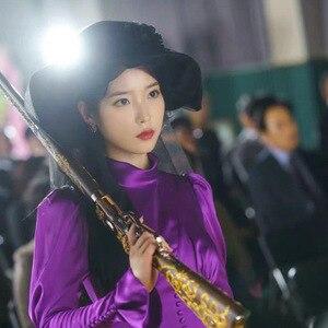 Image 5 - Mor Elbise kadınlar için DEL LUNA Otel aynı IU Lee Ji Eun sonbahar mizaç kadın elbise bahar
