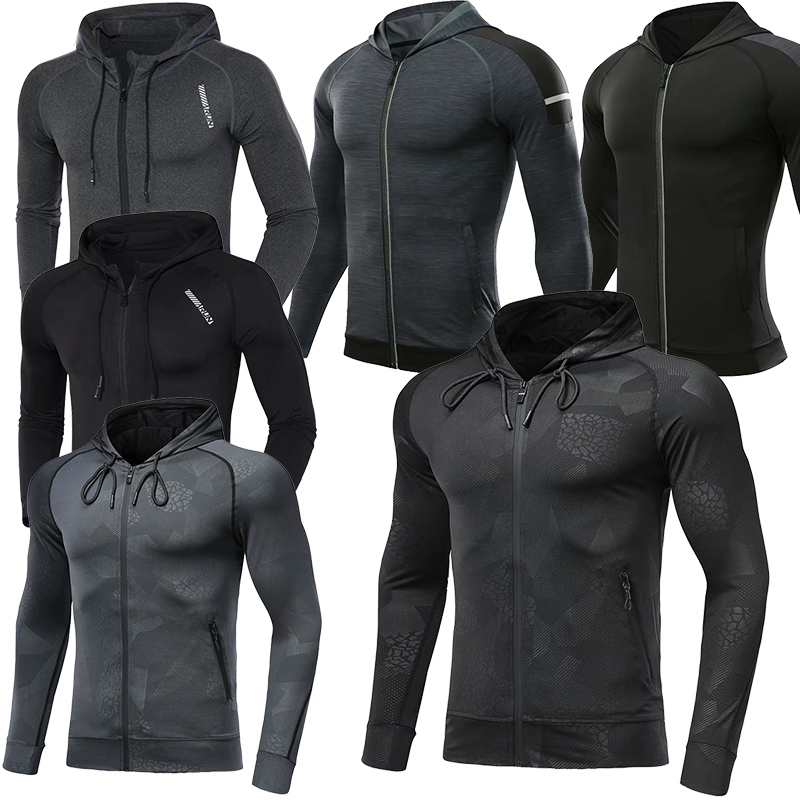 New Hooded Sport Jacket Men Fitness Jersey Tight Top Outdoor Soccer Gym Hoodie Windbreaker Plus velvet Running Sports Coat