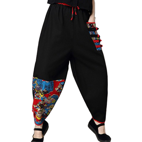 retro casual pants for women in the spring and autumn Chinese style cotton linen large size wide leg pants loose knickerbockers